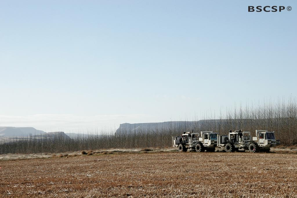 "<br />Seismic ""Vibroseis"" trucks, also known as ""Thumper"" trucks, release vibrations that emit sound waves and help retrieve valuable data regarding the geology underground, as shown here at the <a href=""/basalt"" target=""blank"">Basalt Wallula project site</a>."