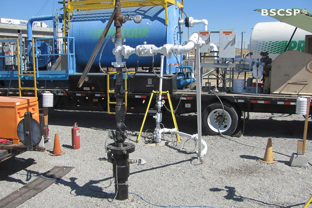 """<br />In July 2013, researchers with BSCSP started injected 1,000 tons of CO<small>2</small> into a deep underground basalt formation, part of the in <a href=""""/basalt"""" target=""""blank"""">small-scale demonstration project</a> in Wallula, WA."""