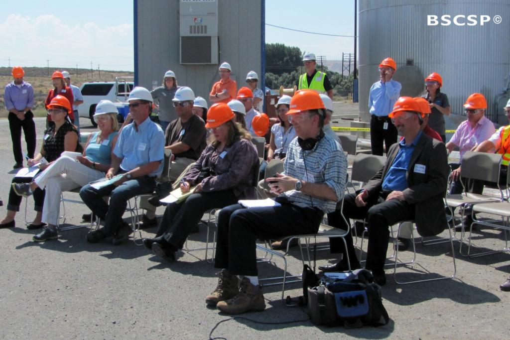 """<br />BSCSP coordinates with partners to host public events, media announcements, and other outreach opportunities, such as this press event announcing the start of CO<small>2</small> injection at the <a href=""""/basalt"""" target=""""blank"""">Basalt Wallula project</a>."""
